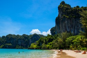 Beautiful cliffs of Railay Beach in Krabi.