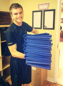 Stacking those mats at Sid Yoga in Towson!