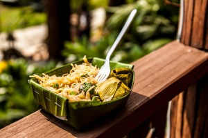 A simple noodle dish got us started. Loved the sustainable banana leaf bowls!