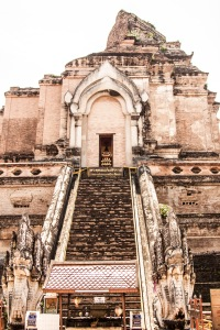 Close up of the historic Wat Chedi Luang, constructed in the 14th century.