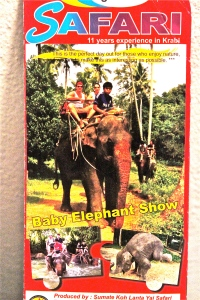 A tourist brochure advertising elephant riding and a baby elephant show that I picked up while in southern Thailand.
