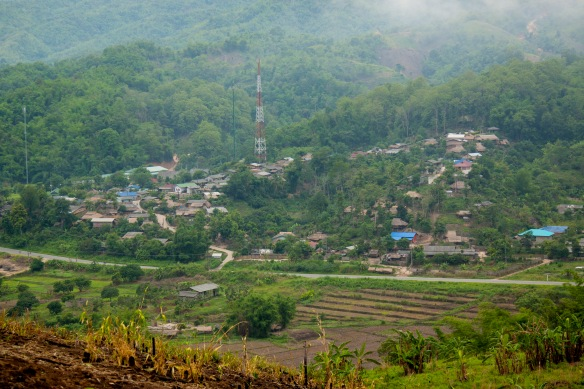 Full view of the village. Over 1000 people currently live in this particular Akha village.