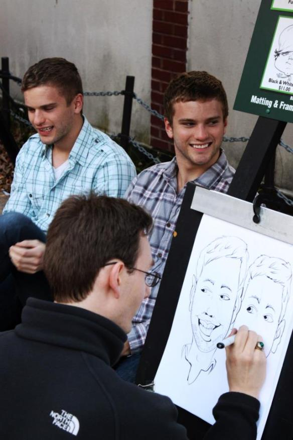 Giving a caricature artist a challenge in Chicago.