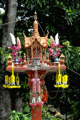 Theraveda Buddhism/ animist spirit house. These are seen all throughout Chiang Mai and Thailand.