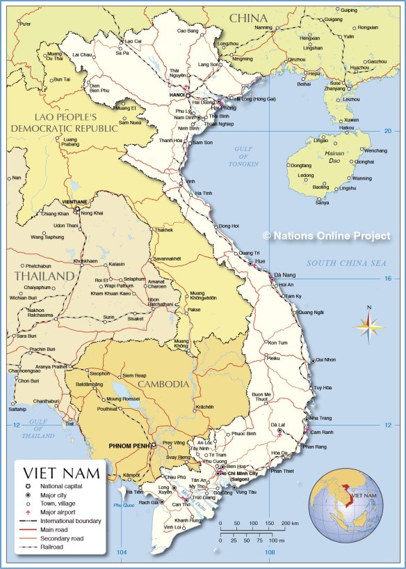 Map from: http://www.nationsonline.org/oneworld/map/vietnam-political-map.htm