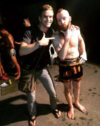John Briggs post Muay Thai win (2015). Greasy with Tiger Balm