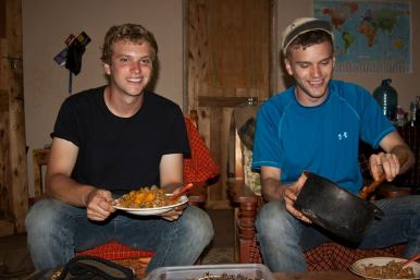 Dinner at Darryl's Peace Corps site in Njombe, Tanzania. We cooked over an open charcoal flame and got quite creative. We even made Thai curry one night! Good memories. All the lights went out at